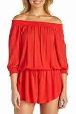 MSRP $54 Raisins Romper Cover Up Red Size S
