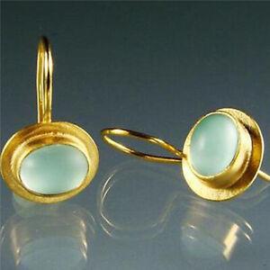 Fashion Glowing Sea-green Gems Earrings Women Turquoise Glazed Eardrop Jewelry