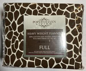 Pointehaven Heavy Weight 100-Percent Cotton Flannel Full Sheet Set Giraffe