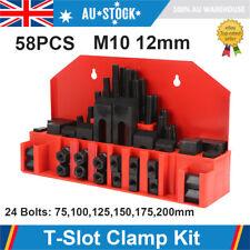 58x T-slot Clamp Stud Lathe Milling Machine Kit Step Block Clamping Set M10 12mm