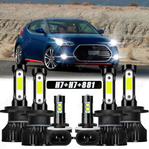 For 2012-2017 Hyundai Veloster 4sides LED Headlight High Low+Fog Light Bulbs Kit