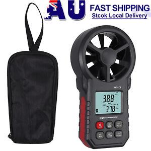 Digital Anemometer Thermometer Air Wind Speed Meter Temperature Monitor Gauge