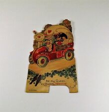 """Vintage 1940's Valentine Card Germany King Prince w/Girl In Carriage 6"""" x 3 1/4"""""""