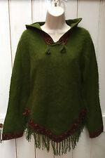 Vintage 90s Green Shaggy Hairy Nepal Hooded Jumper Bradied Tassel Fringed 6 8 10
