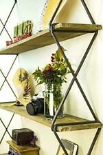 Rustic Floating Wood Book Shelves 3-Tier Wall Mount Hanging Shelves Sale