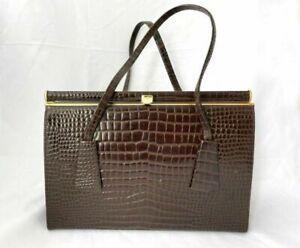Freedex Brown Leather Clasp Bag