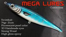 45 Custom Mega Lures StickBait Handmade Wood Tuna Marlin  Saltwater Fishing Sea