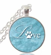 """PET LOVERS """"LOVE PAW PRINT"""" GLASS OPTIC SILVER  PENDANT NECKLACE"""