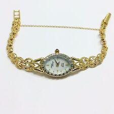 14k Yellow Gold MICHAEL ANTHONY Diamond WATCH SAPPHIRE Crown MOP Dial Women's