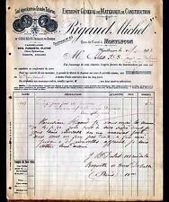 "MONTLUCON (03) ENTREPOT de MATERIAUX de CONSTRUCTIONS ""Michel RIGAUD"" en 1908"