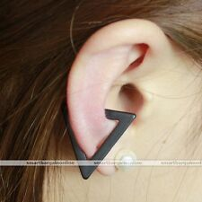 Men Women Black Geometric Triangle Ear Clip On Cuff Earrings Non Piercing Punk