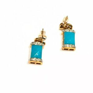925 Diamond Accent Turquoise Color Ross Simons Earrings Pierced Sterling R China