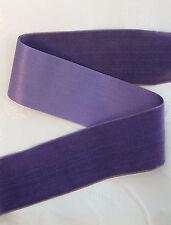 "3 Yds Antique Vintage 2-1/4""  Purple Violet French Silk Rayon Velvet Ribbon"