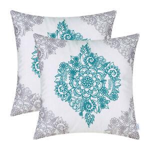 "2Pcs CaliTime Cushion Covers Pillows Shells Grey Teal Mandala Floral Sofa 16x16"""