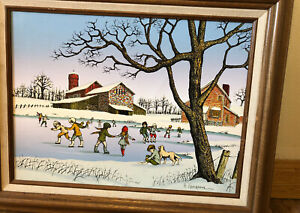 "H. Hargrove Serigraph Painting On Canvas ""Children In Winter"": 12"" By 16"""