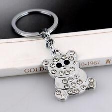 Clear Crystal Metal Cute Bear Keyring Pendant Purse Bag Charm Keychain Gift