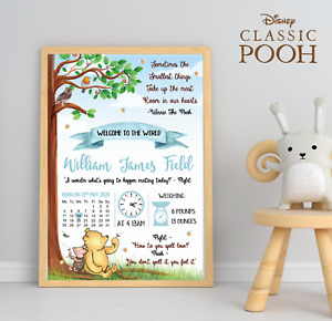 Personalised Winnie The Pooh Baby Print • Pooh Bear Welcome To The World Print