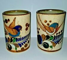 Tonala Mexican Pottery Coffee Mugs Bird and Leaf Design - Set of 2