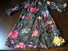 NEXT AGE 9 YRS 134CM BROWN FLORAL VISCOSE 3/4 SLEEVE DRESS