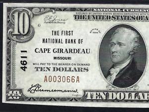MO 1929 $10 ♚♚ CAPE GIRARDEAU, MISSOURI ♚♚  PMG CH UNC 63 EPQ