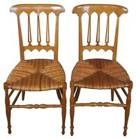 2 Antique Italian Chiavari Maple Parlor Dining Side Chairs Wicker Seat Liguarian