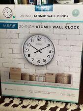 "404-1220 La Crosse Technology 20"" Atomic Analog Metal Wall Clock - White NIB"