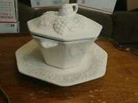 Vintage California Pottery White Soup Tureen Grape Pattern W/ Underplate & Lid