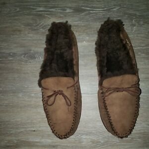 LL Bean 71341 Shearling Moccasins Loafer Slipper  shoe  sz 14 M  Preowned