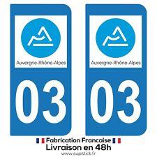 2 STICKERS AUTOCOLLANT PLAQUE IMMATRICULATION DEPT 03 Auvergne-Rhône-Alpes