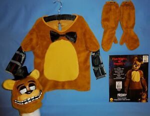 FIVE NIGHTS AT FREDDY'S-FAZBEAR COSTUME-CHILD'S M 8-10; L-12-14-SHIRT MITTS MASK