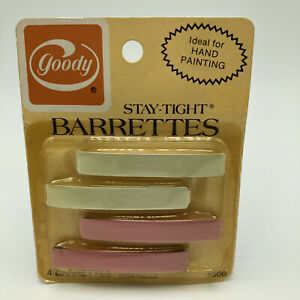 """Vintage 1970s Goody Stay Tight Barrettes Metal 2.25"""" Pink White Pkg 4 NOS 906"""