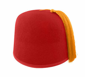 Felt Red Fez Hat Gold Tassel Shriner Turkish Casablanca Cap Adult Costume