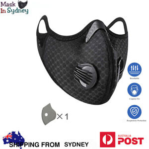 Face Mask For Sports Air Pollution Dual Valve Respirator+ 1 Filter + In Sydney
