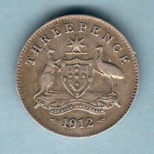 Australia.  1912 Threepence..  Trace Lustre.. Full Centre Diamond..  VF