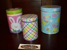 NEW SET OF 3 EASTER EGG BUNNY PLAID PRINT CANDY CONTAINER GIFT BOX TRINKET TIN