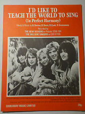 THE SEEKERS I'd Like To Teach The World To Sing 1971 Pop Music Sheet