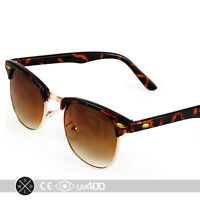 Half Frame Vintage Clubmaster Style Sunglasses Tortoise Gold Amber RX S063