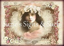 Fabric Block Vintage Altered Pink Roses & Lace Victorian Girl ~Chic & Shabby~ #1