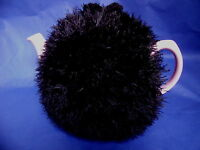 Funky fluffy tea cosy hand knitted in Wales BLACK please see size guide for fit