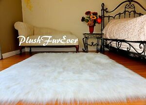 Rectangle PlushFurEver Area Rug White Sparkle Sheepskin Faux Fur Home Decors