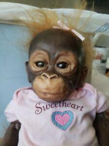 "Ashton Drake LITTLE UMI Orangutan monkey 14"" doll by Wendy Dickinson REPAIR need"