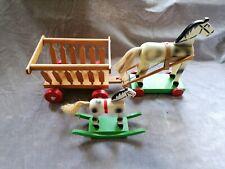 Odenwälder Gäulschesmacher Pferd auf Rollen m. Heuwagen u. Schauckelpferd gebr.