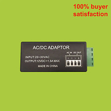 24 VAC to 12 VDC, 1.5 Amp Supply Current Power Adapter for Indoor Outdoor CCTV