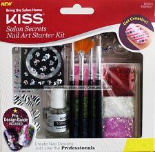 KISS Salon Secrets #60523 NAIL ART STARTER KIT Glitter+Decals+Brushes+Charm 1/2
