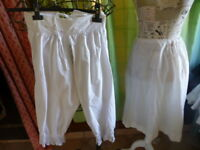 lot =femme ancien panty et jupon ,blancs,broderies coton ,liens taille