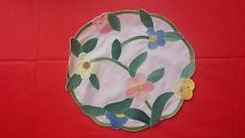Vintage Hand Applique Pink Blue Floral Round Fabric Doilie Free Shipping