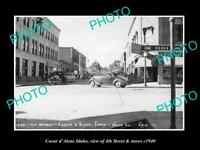 OLD POSTCARD SIZE PHOTO OF COEUR d'ALENE IDAHO 4th STREET & STORES 1940