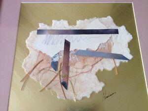 Vtg 90s Japanese Asian Gold Pink Vaporwave Chrishawn Handmade Paper Collage Art