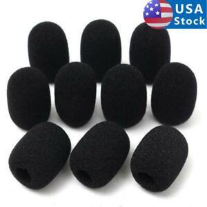 10Pcs Microphone Boom Windscreen Foam Cover for Gaming Headset Mic Black