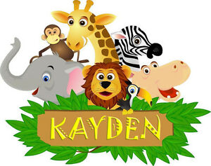 Jungle Animal Childrens Bedroom Wall Sticker With Name Of Choice